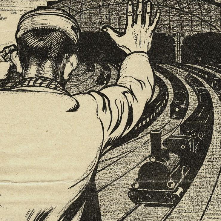 """""""Gansch het raderwerk staat stil, als uw machtige arm het wil"""" - spotprent van Albert Hahn"""